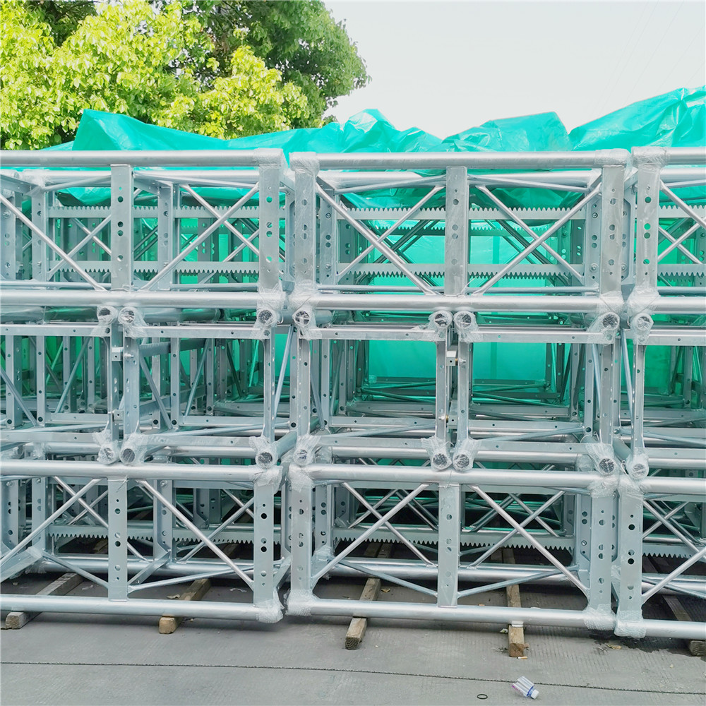 Galvanized mast sections for building construction elevator hoists