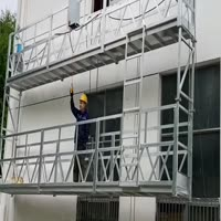 Painted steel curtain wall installation lifting gondola platforms loading container